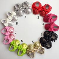 Wholesale Bright Color Shoes - 8 Color Baby bowknot paillette moccasins soft sole PU leather first walker shoes baby newborn Bright gold bowknot toddler shoes B001