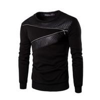 deri patchwork hoodie toptan satış-Toptan-Artı Boyutu M-5Xl Deri Patchwork Hoodies Erkekler Fermuar Dekorasyon Kazak Erkekler Rahat Spor Ceket Moda Erkekler 'S Giyim Hoodie