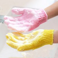 Wholesale Skin Scrub Gloves - Factory Price Exfoliating Loofah Sponge Mitts Gloves Mixed Color Skin Body Bath Shower Scrub Massage Spa A015