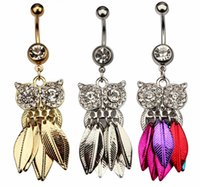 Wholesale owl rings jewelry - D0675 ( 3 colors ) clear with gold plated Nice belly ring nice D0675-2 owl style belly piercing body jewlery navel belly ring body jewelry