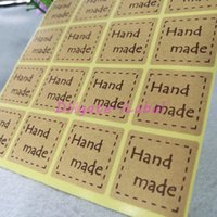 "Wholesale Handmade Labels - 300pcs Handmade Sticker 25*25mm 1"" Brown Vintage Stickers Kraft Label Sticker DIY Hand Made For Gift Cake Baking Sealing Sticker"
