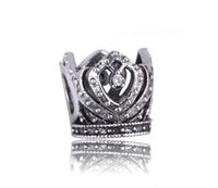 925 fascini Sterling Silver Crown Princess trasparente cristallo dei monili i braccialetti misura branelli europeo Pietra Natural Fashion 2016 Disponibile