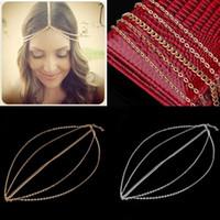 Wholesale Wholesale Metal Curb Chain - Wholesale-Women Metal Head Curb Tassel Chain Headband Head Piece Hair Band 2016 Hot Sale Fashion jewelry