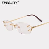 Wholesale framed bag - Eyeglasses Metal Glasses Rimless Frame for Men Women Gold Reading Prescription Glasses Eyeglasses Designer with Sunglasses Box