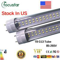 Wholesale g13 t8 smd led tube - Stock in US LED T8 Tube 4FT 28W 2835 G13 192LEDS Light Lamp Bulb 4 feet 1.2m Double row 85-265V led lighting