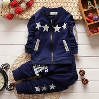 Wholesale Cardigan Girl Boy Star - Clothing Sets new fashion baby boys girls christmas tracksuit set long sleeve kids outfits suits Zip cardigan star sports suit