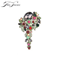 Wholesale Indian Wedding Flower Jewellery - New 2016 Vintage Style Jewellery Large Size Muticolor Crystal Rhinestone Flower Brooches Pins For Wedding Bouquet