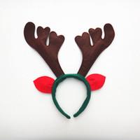 Wholesale reindeer antlers headband - New Reindeer Antlers Headband Cute Deer Elk Horn Headdress For Children Adults Christmas Party Costume Decor ZA5071