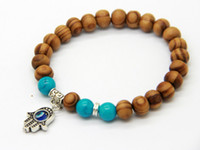 Novos produtos Atacado Best Quality 8mm Beaded Wood Beads Fatima Hand Hamsa Cheap Bracelets, New OM Yoga Jewelry
