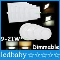 driver led delgado venda por atacado-O quadrado / em volta de 9W / 12W / 15W / 18W / 21W Dimmable conduziu as luzes de painel Slim Recessed Downlights 4