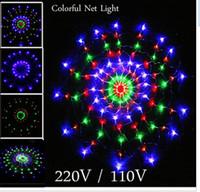 cadenas de colores al por mayor-1.2 m 120Leds 8 modos de flash 220V / 110V Colorido RGB LED cadena ligera luz de la fiesta de Navidad luces de la ceremonia de boda envío gratis