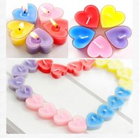 Wholesale Pink Valentine Heart Lights - 2017 9pcs lot Multicolor Candle Romantic Wedding Valentine Supplies Heart-shaped scented candles Birthday Party Light Decoration