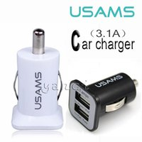 Wholesale Mini Ipad Car Micro Adapter - 5V 3.1A USAMS Micro Auto Universal Dual 2 Port USB Car Charger For iPhone iPad iPod 3.1A Mini Car Charger Adapter   Cigar Socket