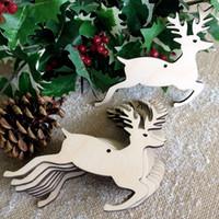 yılbaşı dekoru toptan satış-10-Pack ahşap noel süsler noel süslemeleri noel dekor top geyik kardan adam melek ağacı Xmas ağacı için, festivali pary dekorasyon