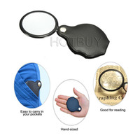 Wholesale Magnifier Reading Glasses - Portable Mini Black 50mm 10x Hand-Hold Reading Magnifying Magnifier Lens Glass Foldable Jewelry Loop Jewelry Loupes #4212