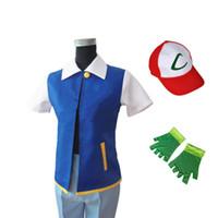 kül kıyafeti toptan satış-Sıcak! Anime Kül Ketchum Trainer Kostüm Cadılar Bayramı Cosplay Unisen Gömlek Ceket + Eldiven + Şapka (Orijinal Orijinal Mavi)