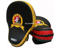 Wholesale boxing punching mitts - 2pieces lot ! Muay Thai MMA Boxing Gloves Sandbag Punch Pads Hand Target Focus Training Circular Mitts for Kick Fighting