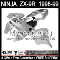 Wholesale 98 Zx9 Fairing Kits - Free shipping+8Gifts ALL Gloss silver not grey For KAWASAKI ZX9R NINJA 1998-1999 Body Y16119 ZX-9R ZX 9R 98 99 ZX9 R 1998 1999 Fairing Kit