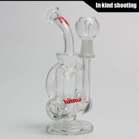 Wholesale Baby Drums - Hitman Glass - Baby Double Barrel Recycler Vapor Rig # 2 bongs water pipe s bong glass dab oil rigs percolator bubbler pipe mini drum thick