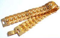 твердое 18-каратное золото для мужчин оптовых-ОТЛИЧНО, ТЯЖЕЛЫЙ! 33g мужская желтое золото 18K реальный браслет твердые часы цепи Ссылка 9 дюймов бесплатная доставка подарок, содержащий около 30% или более сплава