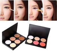 Wholesale christmas color palettes - 6 Color Pressed Powder Correcter Blusher Palette Highlight Pro Concealer Nature Long-lasting Cosmetic Makeup Beauty Tools