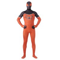 Wholesale classic spiderman spandex costume - Halloween Orange Ultimate Spiderman Costume 3D Print Shade Cosplay Comic Spider-man Costume Male Spandex Superhero Sexy Costume