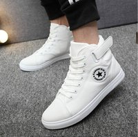 Wholesale Korean Shoes Flat Boots - Hot Sell Spring New Korean High-Top Men Shoes Casual Fashion Breathable Canvas Shoes Men Star Lace-Up Flats Ankle Boots Men Cow Muscle Sole