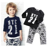 Wholesale High Fashion Baby Boy Clothes - high quality boys suits hot sale 2016 kids baby boy girl fashion suits 2pcs Long Sleeve NYC 21 printed T-shirt+Pants Outfits cotton Clothes
