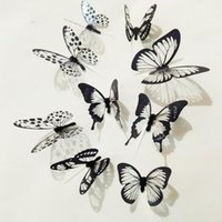 Wholesale plastic murals - New 18pcs Black White Crystal Butterfly Sticker Art Decal Home Decor Wall Mural Stickers DIY Decal Christmas Wedding Decoration Gift