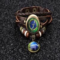 ingrosso tessuti brasiliani-Fashion Brazil Flag Pendant unisex 8 colori Retro Quarzo Casual Weave Leather Bracelet WRAP Lover's Wristwatch
