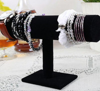 Wholesale Glass Watch Display Stand - 23cm 9.1in Black Velvet Bracelet Chain Watch T-Bar Rack Jewelry Hard Display Stand Holder Jewelry Organizer Hard Display Stand
