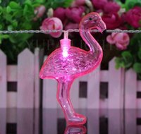 Wholesale Colored Glaze - Red Flamingo LED Bulbs String Light Battery Opetated Home Party Decor