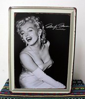 Wholesale Vintage Bathroom Poster - 3pcs lot Metal Sign shabby chic Vintage painting Marilyn Monroe Metal poster Wall decor N-67 Mix order 30*40 CM 160608#