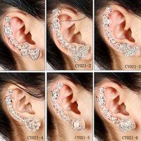 Wholesale Ear Clamp Earrings - Right Ear Cuff 2016 Hot Selling Clip Clamp Earrings 1pc Flower Pearl Shape Gold Diamond Earring Women Jewelry Free Shipping CA26