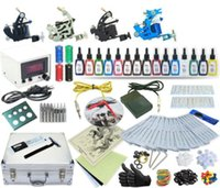Wholesale Complete Supplies - Complete Tattoo Kit 4 Machines Gun Power Supply 15 Color Inks TK-20 (Black case)