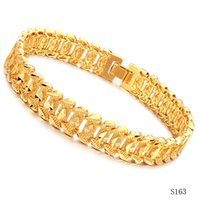 Wholesale Real Gold Bracelet Men - ashion Jewelry Bracelets Luxury JEWELRY Hot Sell Classic Vintage 18K Real Gold Plated bracelet Attractive Men Jewelry Link Chain Bracelet...