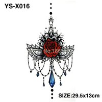 Wholesale tattoo chest - Wholesale- YS-X016 3D DIY Chest Flowers Fall BIG Tattoo Stickers Colorful Hot Flashes Waterproof Tatoo Body Art Temporary TATTOO Sticker