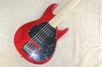 Music Man 5 Strings Bajo Erime Ball StingRay Guitarra Eléctrica Acabado Rojo Maple Fingerboard Batería 9V Pastillas Activas Black Pickguard