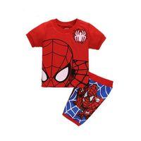 Wholesale Pijamas Boys - Wholesale-High Guality Batman baby boy pajamas Spiderman summer style baby boy clothes short-sleeved Pyjamas cartoon pattern pijamas brand