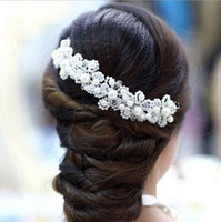 Wholesale Pearl Headdresses - Durable Crystal Rhinestone Pearl Bridal Hairband Hair Accessories White Imitation Bride Headdress Wedding Hair Bands