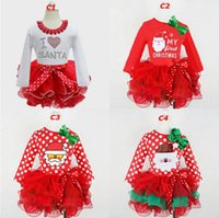 Wholesale Santa Claus Girl Dress - Dress Girls Lace Bowknot Christmas Newborn Baby Girl Clothes Santa Claus Tutu Infant Cake Dresses Party Costume Clothing DHL Free Shipping
