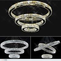 ingrosso illuminazione lampadario a bracci ambra-Moderna lampada a sospensione a LED K9 in cristallo Anello chiaro / ambra Lampadario a sospensione Lustres De Cristal Lampada a LED a sospensione AC110V-220V