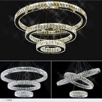 araña de cristal ámbar de iluminación al por mayor-Moderno LED K9 Cristal luces colgantes Anillo claro / ámbar círculo Araña Lustres De Cristal Suspensión LED Luz Accesorio AC110V-220V