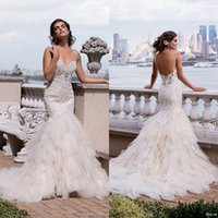 Wholesale Sexy Eve - 2016 Gorgeous Eve of Milady Lace Mermaid Wedding Dresses Sexy Backless Missses Crystal Beaded Sweetheart Tiered Skirts Bridal Gowns ba2442