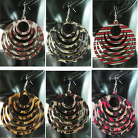Wholesale Cloth Chandeliers - New Arrived Wooden Wood Hoops Cloth Fashion Women Earrings Wholesale 6 Colors Mixed #WS24
