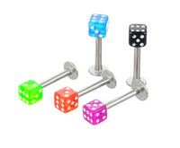 Wholesale Crystal Dice Wholesale - 50pcs Mix Color Free Shipping 16G Acrylic Square Dice Labret Ring tragus ear body piercing jewelry lip ring 1.2mm*8mm