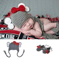 Wholesale Crochet Cute Baby Shoes - Cute Baby Elephant Hat and Shoes Set Knitted Newborn Beanie for Photo Shoot Boy Fotografia Props Animal Costume Accessories