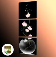 Wholesale Still Life Paintings Vases - Modern art Giclee Wall Picture Poster (No Frame) Transparent Vase Pink Flower Still Life Oil Painting Prints For Home Decor