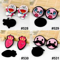 Wholesale Wholesale Cartoon Character - 40pcs lot Mixed Solid Black Color Flatback Resins Cartoon Character Planar Resin DIY Crafts for Home Decoration Accessories