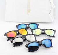 Wholesale Kids Black Sun Glasses - 2016 Hot Selling Children fashion sunglasses Brand Design UV 400 kid sreflector mirror lenses sun glasses summer eyewear